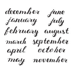 Hand-drawn Calendar Set. Set of Months of the Year. Handlettering Isolated on White.