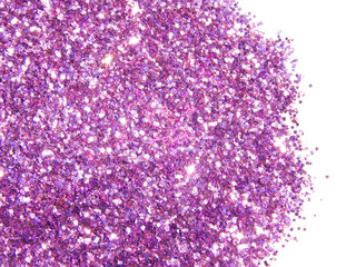 Purple glitter sparkles on white background. Can be used as place for text, for greeting or invitation cards, fashion magazines, web sites etc.