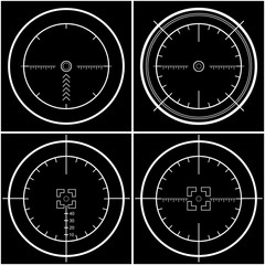Crosshair, reticle, viewfinder, target. Sniper's scope sight view.