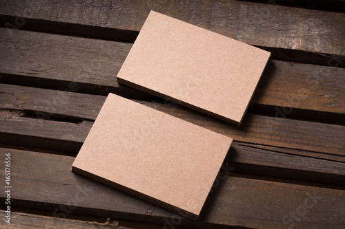 Recycled Paper Business Cards On Wooden Background Stock Photo And