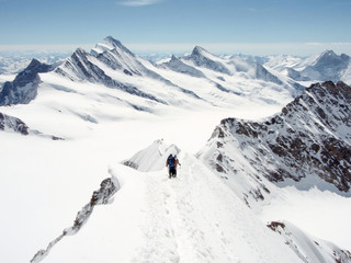 two mountain climbers on a narrow and exposed summit ridge descending from the summit with a spectacular panorama view of the Swiss Alps near the Aletsch glacier and Grindelwald