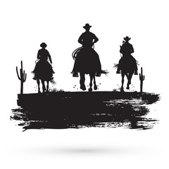 Silhouette of three cowboys riding horses, vector illustration