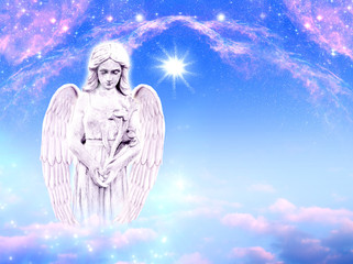 Wall Mural - Angel archangel Gabriel with mysticla lily over blue pink background with stars