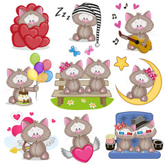 Set of Cute Cartoon Cat