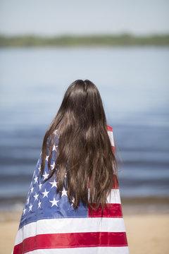 woman with usa flag