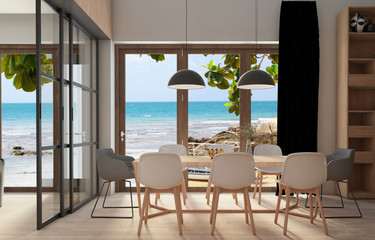 Living room interior with hue windows overlooking sea view-3d illustration