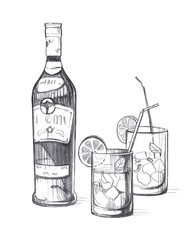 Bottle with alcoholic beverage and Two glass glasses with ice, lemon, mint leaves and cocktail tubes.
