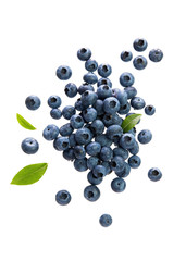 Fresh Blueberries With Leaves on White Background