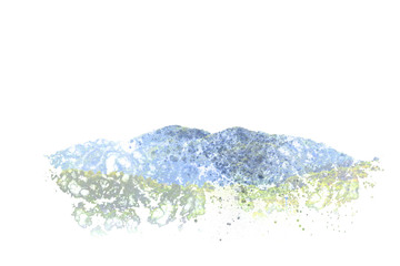 Abstract mountain landscape on watercolor background, digital watercolor painting
