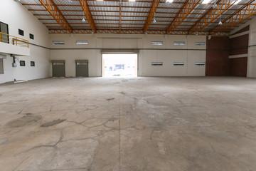 huge empty warehouse exit