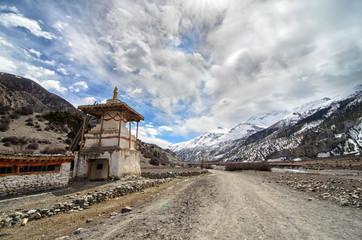 Tibetan Buddhist Stupa lost high in Himalayas