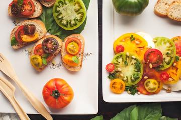 Fresh organic tomatoes, basil and mozzarella cheese.