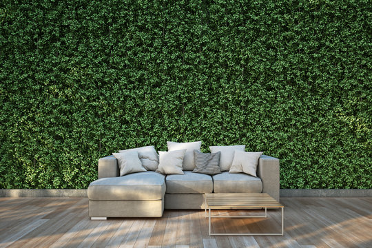 Sofa on wood deck in the garden. : 3D illustration
