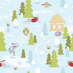 Seamless pattern of fairytale christmas landscape with animals in snowy  forest on blue background