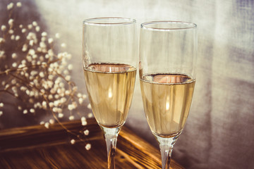 Pair of wine glasses, champagne flutes on the wedding table, Mockup