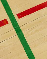 Lines on indoor basketball court