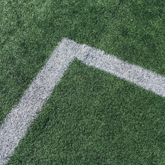 Boundary lines on artificial turf sports field