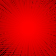 retro red comic background halftone with rays