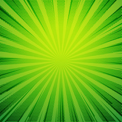 green pop art comic book style retro background with exploding rays