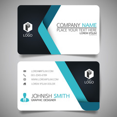 Obraz Blue modern creative business card and name card,horizontal simple clean template vector design, layout in rectangle size. - fototapety do salonu