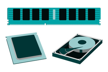 Cartoon Parts for Personal PC icon. HDD, RAM, CPU.
