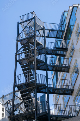 Outside Staircase Or Fire Escape On The Side Of A Building In London,  England,