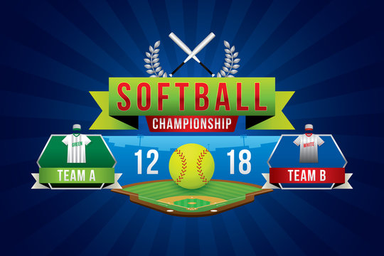 Vector of softball championship with team competition and scoreboard.