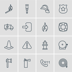 Vector Illustration Of 16 Necessity Icons. Editable Pack Of Siren, Hotline, Safety And Other Elements.