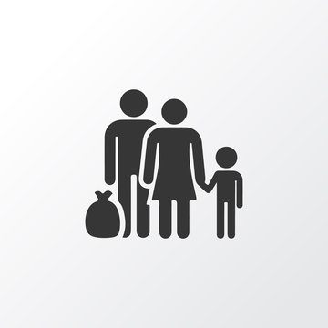 Refugee Icon Symbol. Premium Quality Isolated Fugitive Element In Trendy Style.