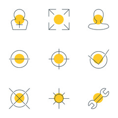 Vector Illustration Of 9 Interface Icons. Editable Pack Of Sunshine, Yes, Remove And Other Elements.