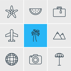Vector Illustration Of 9 Season Icons. Editable Pack Of Umbrella , Photo Apparatus, Island Elements.