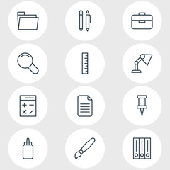 Vector Illustration Of 12 Stationery Icons. Editable Pack Of Folder, Zoom, Adhesive And Other Elements.