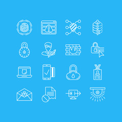 Vector Illustration Of 16 Privacy Icons. Editable Pack Of Copyright, Safe Lock, Corrupted Mail And Other Elements.