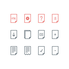 Vector Illustration Of 12 Document Icons. Editable Pack Of Munus, Done, Copy And Other Elements.