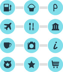 Vector Illustration Of 12 Travel Icons. Editable Pack Of Coffee Shop, Cafe, Shopping Cart And Other Elements.
