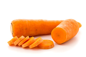 Sliced and whole carrots, isolated