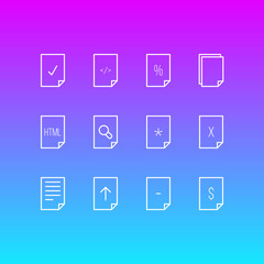 Vector Illustration Of 12 Page Icons. Editable Pack Of Copy, Document, Remove And Other Elements.