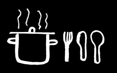 Kochtopf und Essbesteck Tafelbild