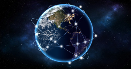 Global network Concept. Elements of this image furnished by NASA.