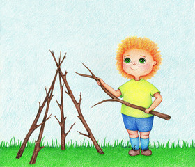hand drawn illustration of little boy building house from branches of tree in garden  in summer by the color pencils
