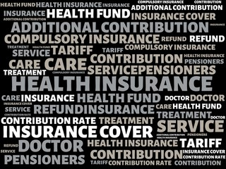 HEALTH INSURANCE - image with words associated with the topic HEALTH INSURANCE, word, image, illustration