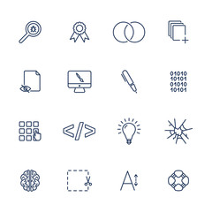 Simple UI icons for app, sites, programs. Different UI icons. Simple pictograms on white background