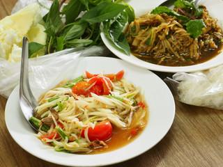 Thai food Papayaand Spicy shredded bamboo shoot salad