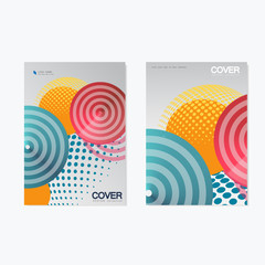 Colorful brochure design template. Vector illustration with circles, halftone and line style