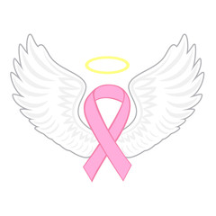 Breast cancer angel, vector illustration.