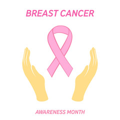 Breast cancer awareness month illustration with pink ribbon and hands. Vector.