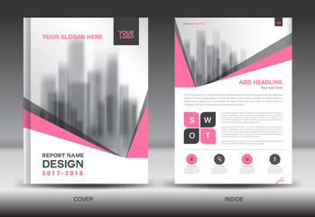 Pink Cover Annual report brochure flyer template creative design, cover design and inside page layout, infographics vector
