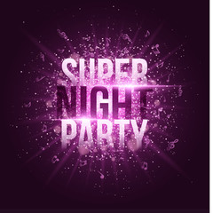 Super night party. Bright purple flash with rays of light and glare bokeh. Purple dust in the night. Flying musical notes. Festive brochure. Your project