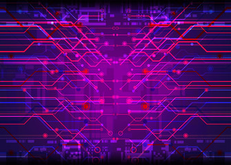 cyber digital technology concept on circuit board background, vector illustration
