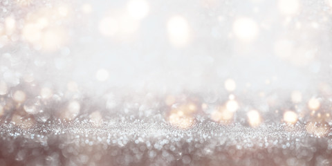 Festive glittering silver bokeh background
